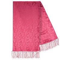 Шарф (палантин) шелковый с бахромой,  крепдешин, павлопосадскаий, розовый,  размер 43х150 см, рис.3501-2