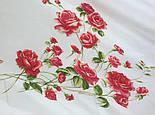 Розы под снегом 10720-0, павлопосадский платок (крепдешин) шелковый с шелковой бахромой, фото 5