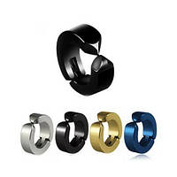 Клипсы в уши черного цвета серьги-обманки унисекс 165152, фото 1