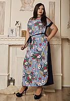 Летнее длинное платье размеры 50,52,54,56 полоска с темно-синим, фото 1