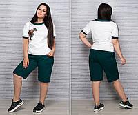 Женский летний костюм с шортами Двунитка Размер 48 50 52 54 56 58 60 62 64 В наличии 6 цветов, фото 1