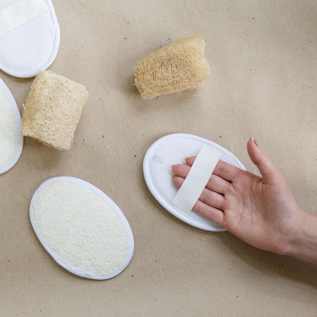 Мочалка двухсторонняя из люфы и хлопка, натуральная губка, эко губка для посуды, люфа