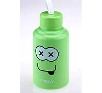 Бутылка с мордой FUNNY зеленая, Бутылки, графины, штофы, Пляшки, графини, штофи