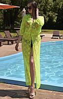 Красивое кружевное пляжное платье туника макси