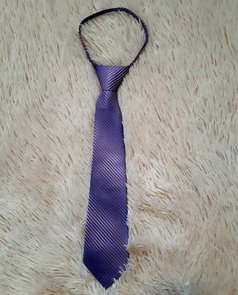 Галстук школьный для мальчика фиолетового цвета в мелкую полоску, фото 2