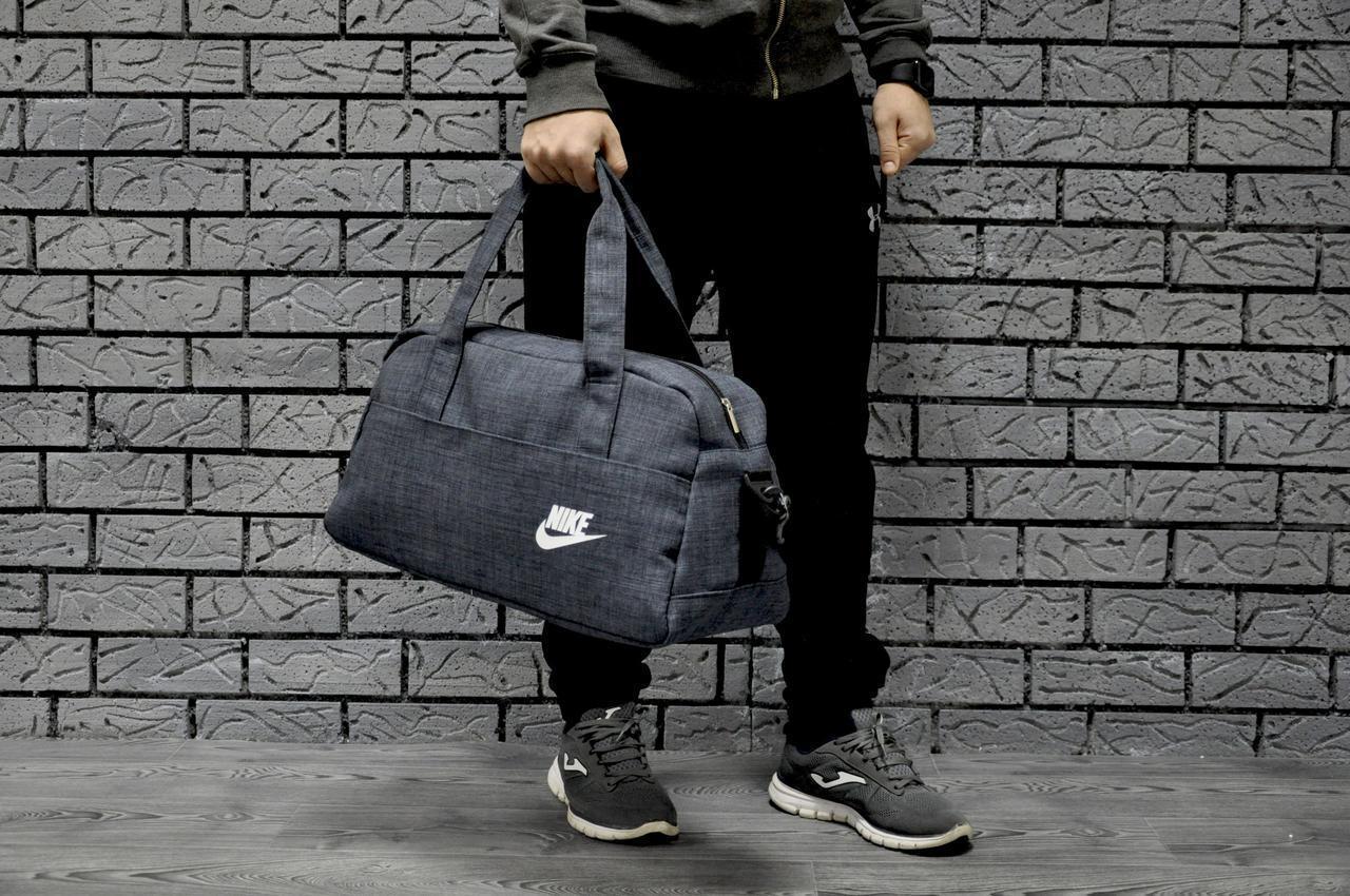 fb3bbfff Спортивная сумка Nike стильная модная вместительная, цвет синий коттон  (логотип белый)