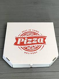 Коробка для пиццы с рисунком Town 250х250х30 мм. (красная печать)
