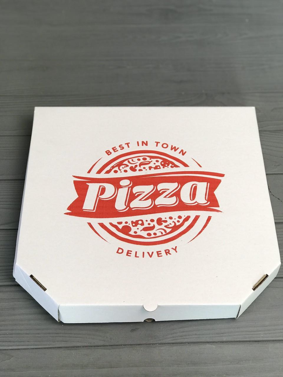 Коробка для пиццы c рисунком Town 320Х320Х30 мм. (красная печать)