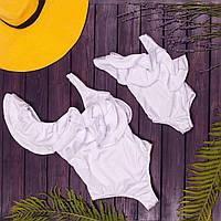 Слитный белый купальник с рюшей в стиле Фэмили Лук для мамы и дочки