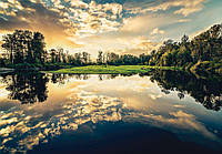 Фотообои 3D природа, пейзаж (флизелиновые 368х254 см) Тихое озеро (12024CN)