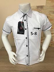Детская белая рубашка с коротким рукавом, 5-8 лет