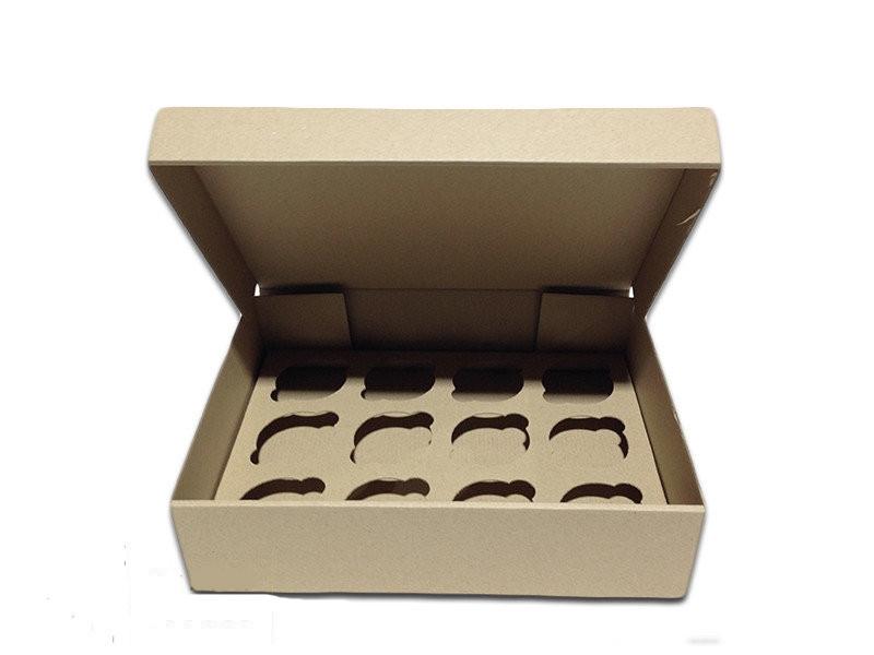 Коробка для капкейков, кексов и маффинов 12 шт 320*238*80 (бурый)