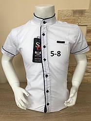 Детская белая рубашка с коротким рукавом, 5-8 лет стойка
