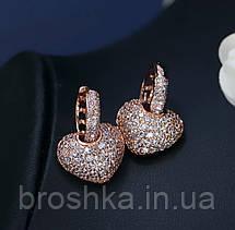 Серьги сердце в розовой позолоте бижутерия, фото 2