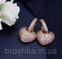 Серьги сердце в розовой позолоте бижутерия, фото 3
