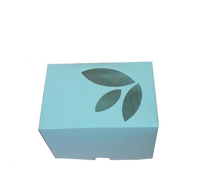 Коробка для капкейков, кексов и маффинов 1 шт 120*85*90 мм. (с окошком)