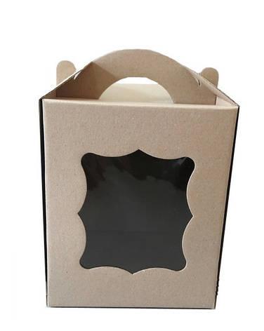 Коробка для пасхи-кексов 170*170*210 мм. бурая KPP1, фото 2