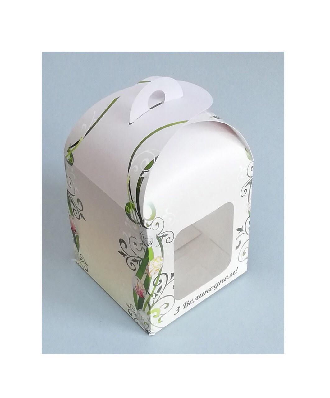 Коробка для пасхи-кексов 120*120*150 мм. с принтом