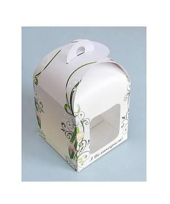 Коробка для пасхи-кексов 120*120*150 мм. с принтом, фото 2