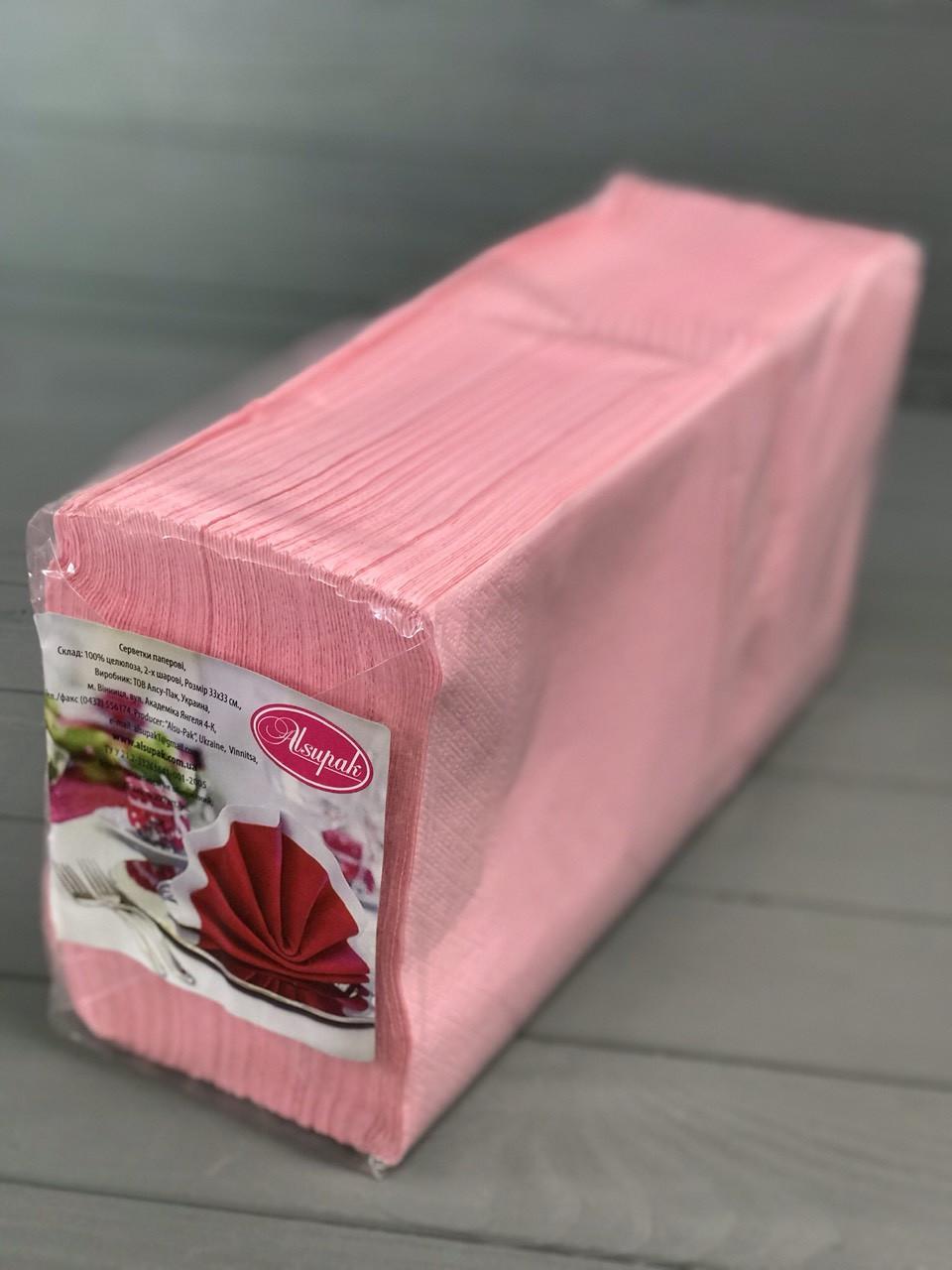 Салфетки двухслойные розовые