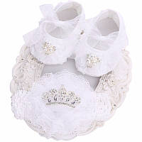 Пинетки белоснежные нарядные и повязка для девочки 11 см, фото 1