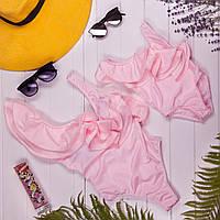 Розовый сдельный купальник с рюшами Family look мама и дочка