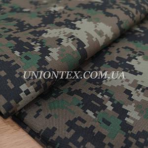Ткань оксфорд 600 PU (ПУ) принт камуфляж цифра зеленая