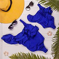 Слитный синий купальник с рюшами стиль Family look мама и дочка