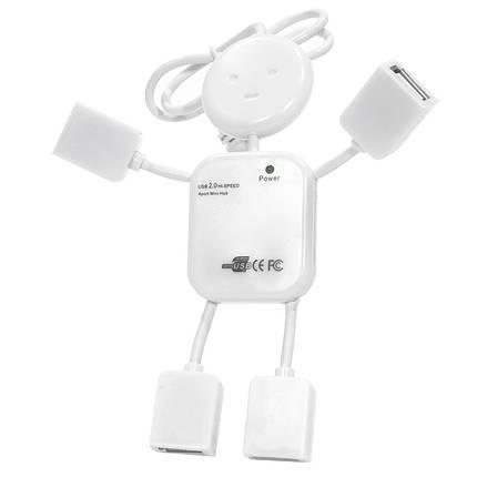 ➨Разветвитель Lesko 4 USB Белый юсб хаб человечек 4 порта usb 2.0 для пк ноутбука компьютера портативный, фото 2