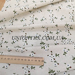 Ткань лен принт мелкие цветы на бежевом