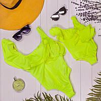 Слитный неоновый желтый купальник Family look для мамы и дочки