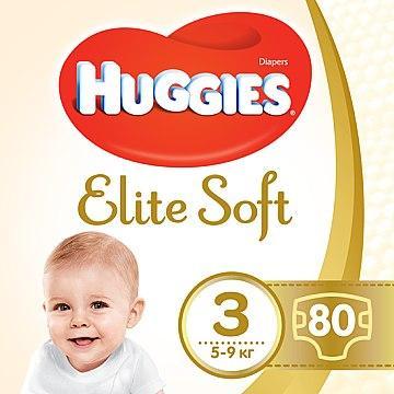 Подгузники Huggies Elite Soft 3 ( 5 - 9 кг ) 80 шт.