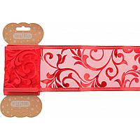 """Декоративна стрічка """"Santi"""" червона з візеруком,напівпрозора 6смх2м №750318/Yes/"""