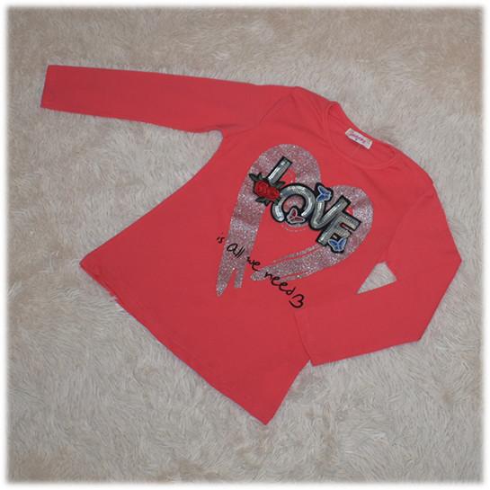Кофта реглан на девочку кораллового цвета Турция размер 116 122