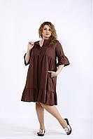 / Размер 42-74 / Женское летнее свободное скрывающее платье большого размера / цвет шоколад