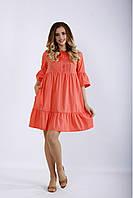 / Размер 42-74 / Женское летнее свободное скрывающее платье большого размера / цвет коралловый