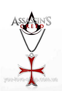 Кулон Крест Тамплиеров Кредо Ассасина Assassins Creed красный + серебро