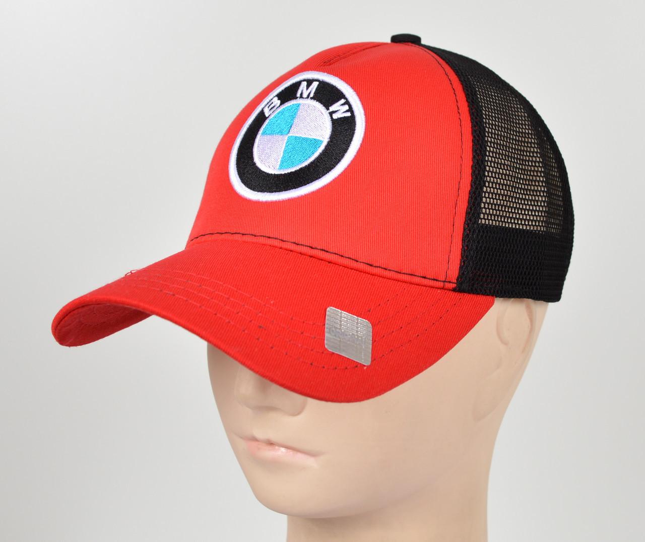 Бейсболка вышивка сетка BMW красный