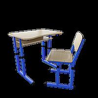 """Школьный комплект одноместный (стол с вырезом + 1 стул), ТМ """"Металл-Дизайн"""" Синий"""