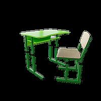 """Школьный комплект одноместный (стол с вырезом + 1 стул), ТМ """"Металл-Дизайн"""" Зеленый"""