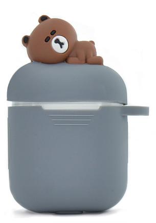 Чохол NZY для навушників Apple AirPods 3D Герої Дісней + карабін Ведмедик Коричневий/Сірий (123165), фото 2