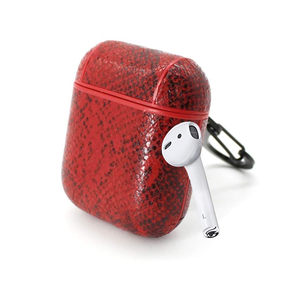 Чехол Oloka для наушников Apple AirPods с карабином Snake ser. Красный (123181)