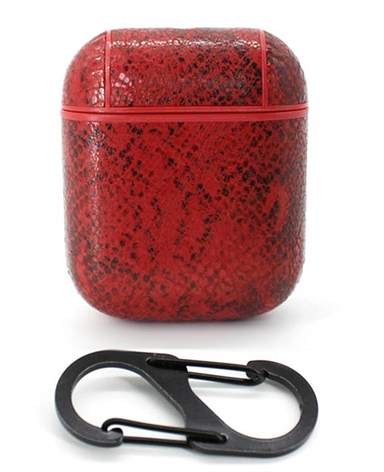 Чехол Oloka для наушников Apple AirPods с карабином Snake ser. Красный (123181), фото 2