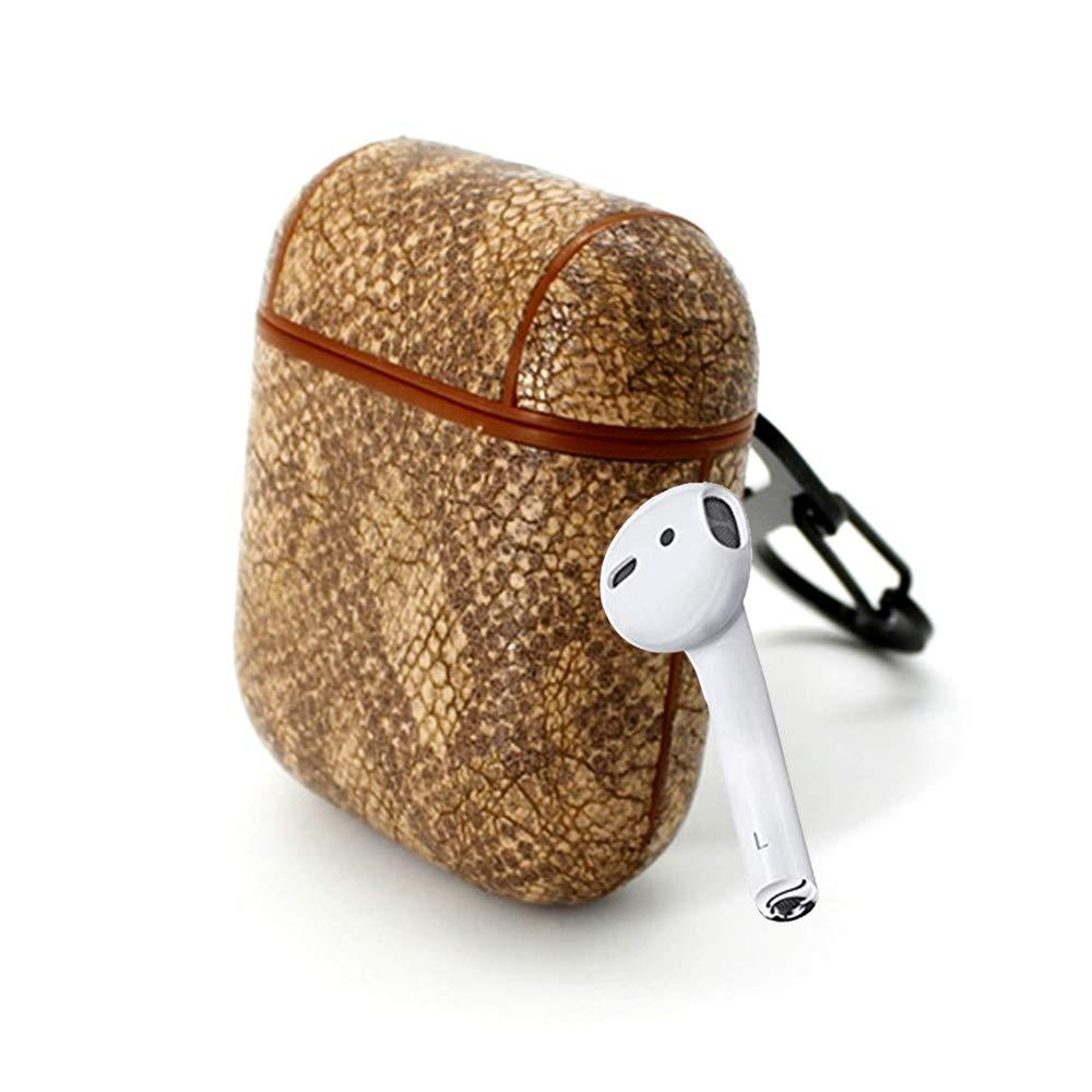 Чехол Oloka для наушников Apple AirPods с карабином Snake ser. Светло-коричневый (123182)