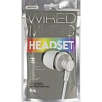 Навушники вакуумні Remax №512 (гарнітура) white/silver в кульку