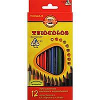 """Олівці кольор. 12 кольор. """"Koh-i-noor"""" №3132 Triocolor"""