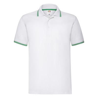 Поло мужская белая с зелеными полосками хлопковая - L, 2XL, 3XL