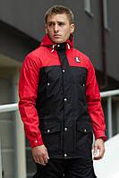 Теплая мужская осенне/весенняя парка Тарас Ястребь черная с красным - размер M