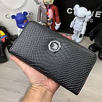 Stefano Ricci Zip Around Wallet Croco Black, фото 1