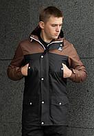 """Стильная мужская весенне/осенняя куртка-парка """"Тарас"""" черная с коричневым - M, L"""